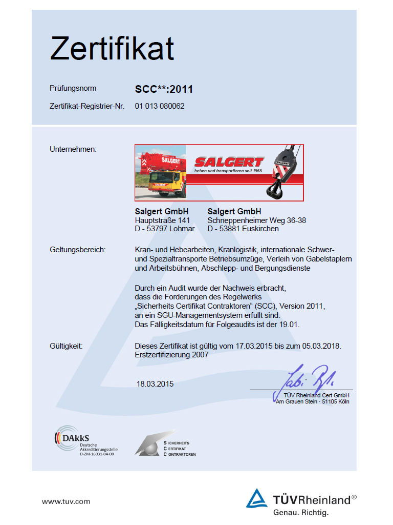 Sicherheits-Managementsystem nach SCC**